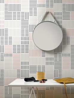 Newspaper pink mural wallpaper