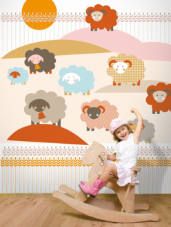 Sheep mural wallpaper