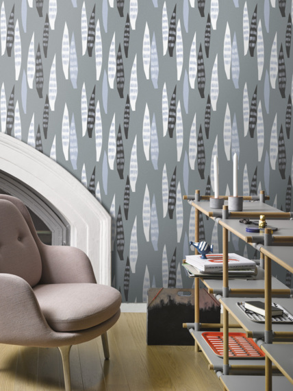 Sample of wallpaper Tenura grey