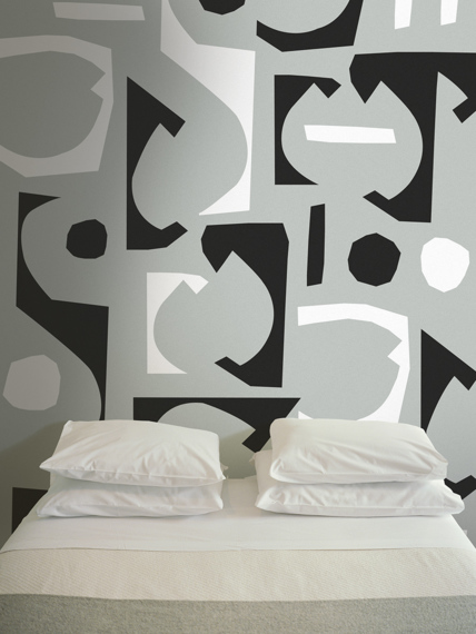 Bits grey mural wallpaper